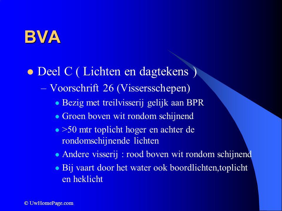 BVA Deel C ( Lichten en dagtekens ) Voorschrift 26 (Vissersschepen)