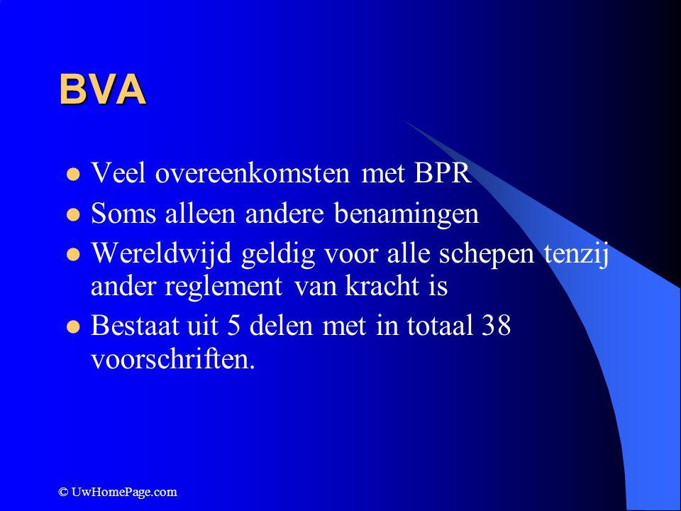 BVA Veel overeenkomsten met BPR Soms alleen andere benamingen