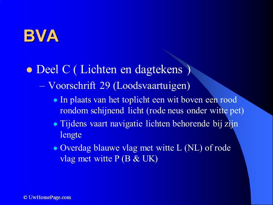 BVA Deel C ( Lichten en dagtekens ) Voorschrift 29 (Loodsvaartuigen)