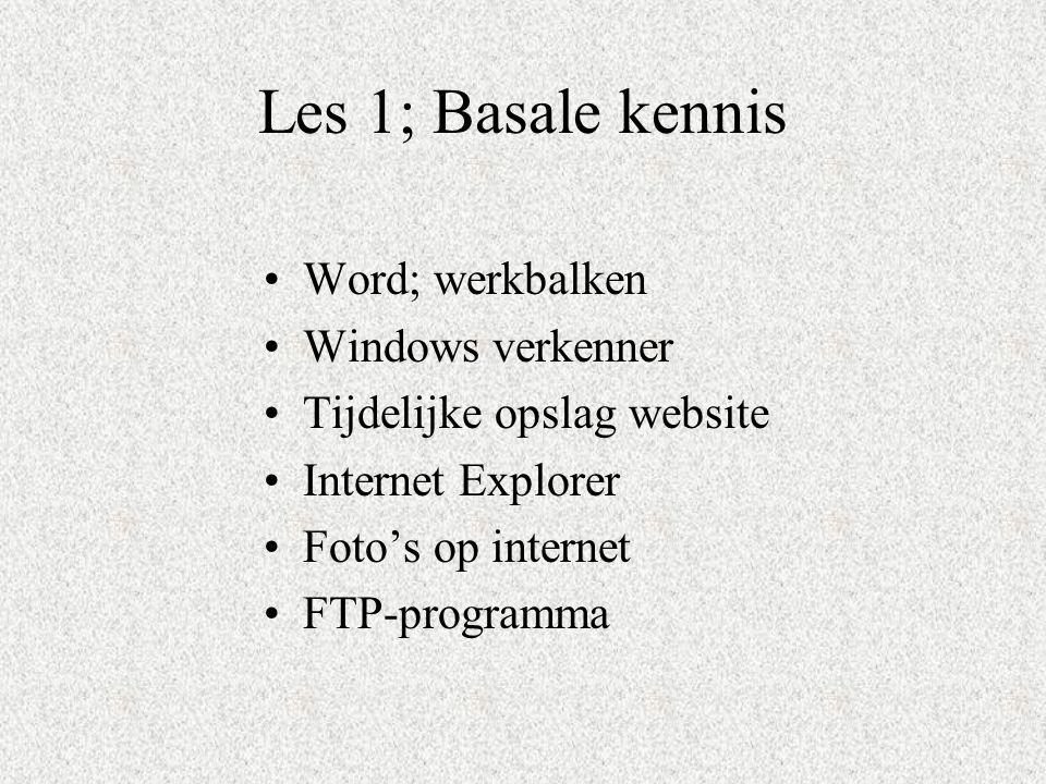 Les 1; Basale kennis Word; werkbalken Windows verkenner