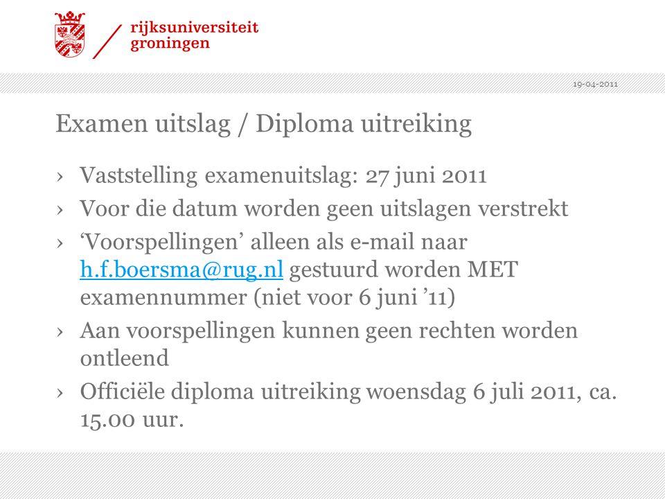 Examen uitslag / Diploma uitreiking