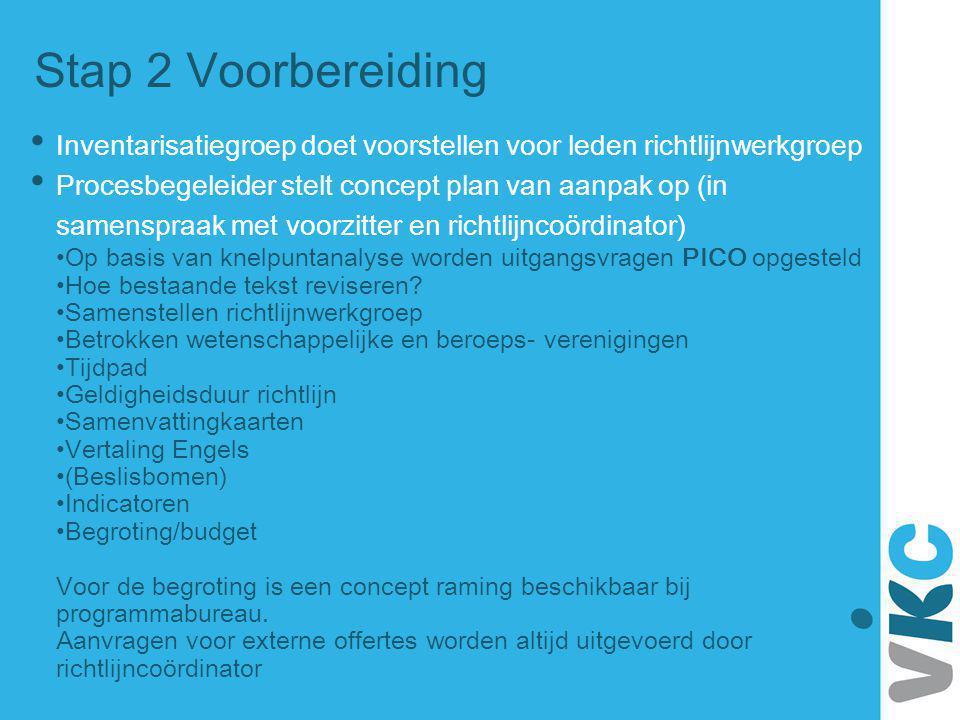 Stap 2 Voorbereiding Inventarisatiegroep doet voorstellen voor leden richtlijnwerkgroep.