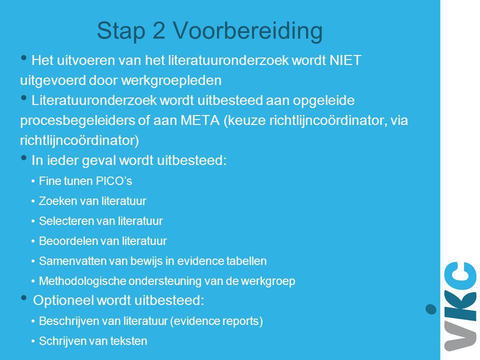 Stap 2 Voorbereiding Het uitvoeren van het literatuuronderzoek wordt NIET uitgevoerd door werkgroepleden.