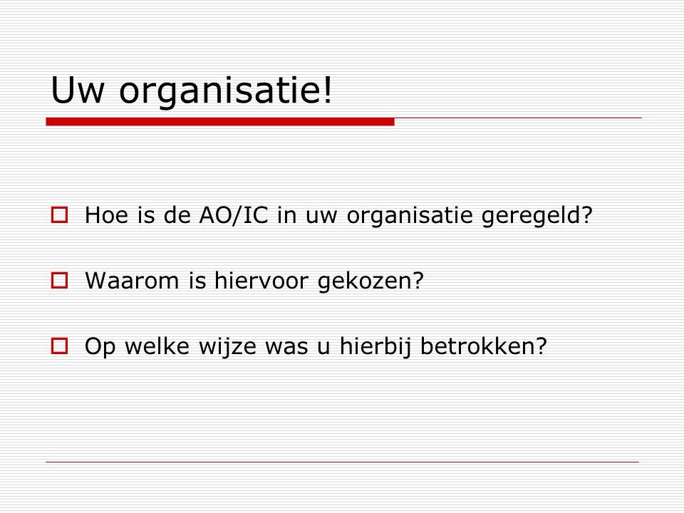Uw organisatie! Hoe is de AO/IC in uw organisatie geregeld