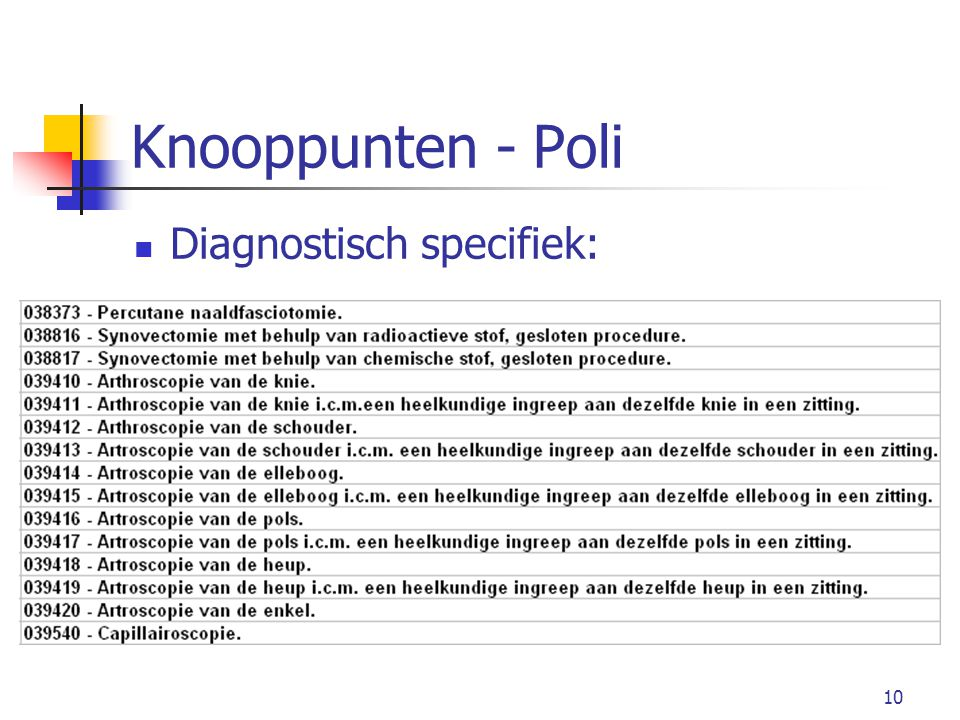 Knooppunten - Poli Diagnostisch specifiek: