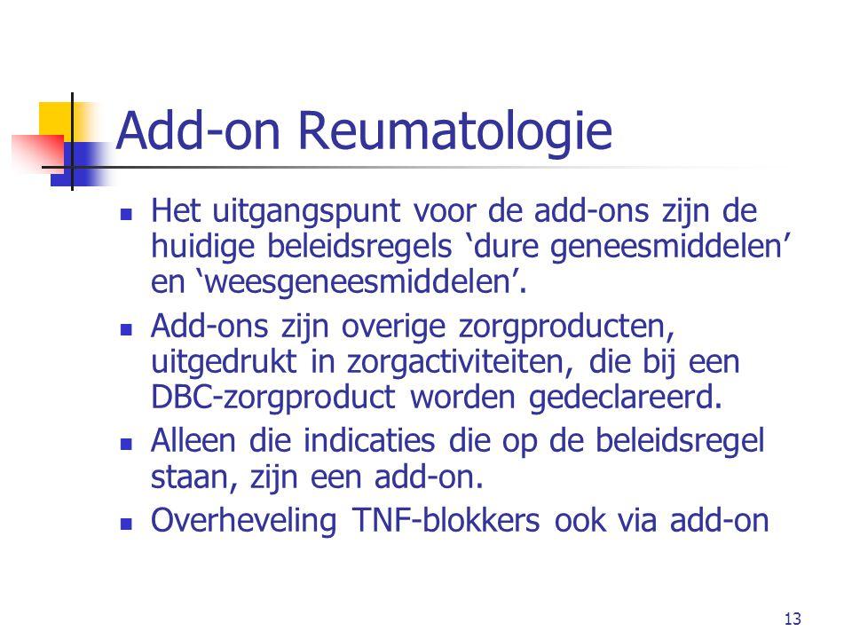 Add-on Reumatologie Het uitgangspunt voor de add-ons zijn de huidige beleidsregels 'dure geneesmiddelen' en 'weesgeneesmiddelen'.