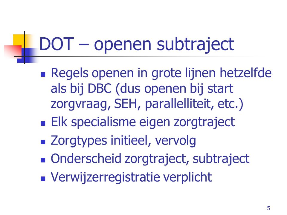 DOT – openen subtraject