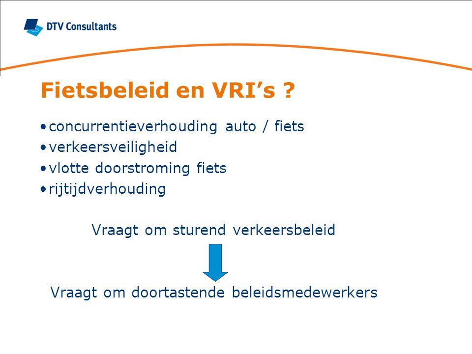Fietsbeleid en VRI's concurrentieverhouding auto / fiets