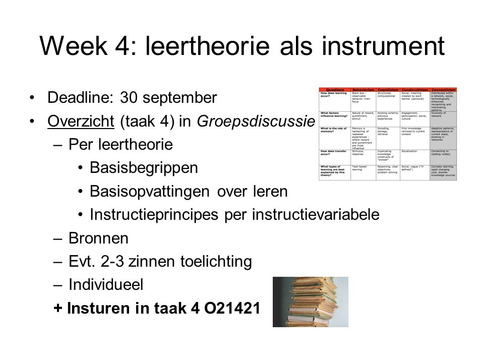 Week 4: leertheorie als instrument