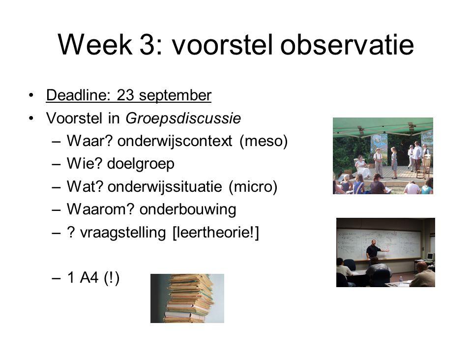 Week 3: voorstel observatie