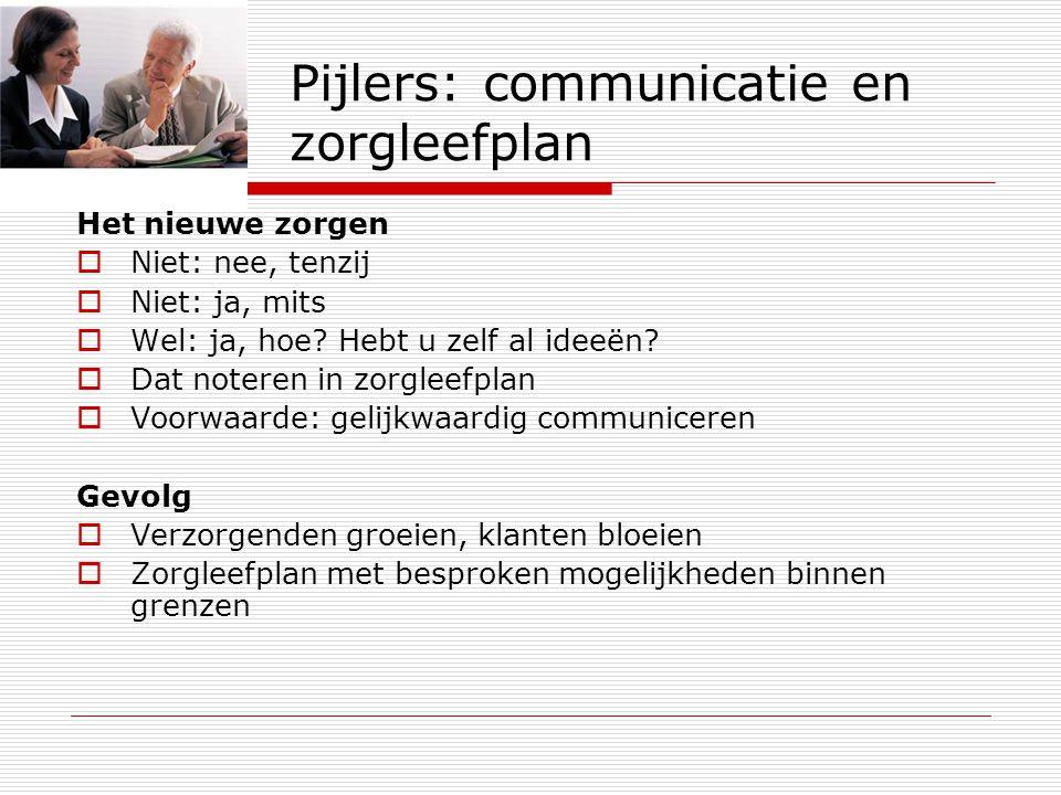 Pijlers: communicatie en zorgleefplan