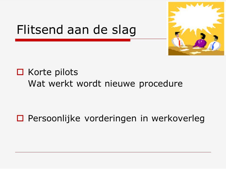 Flitsend aan de slag Korte pilots Wat werkt wordt nieuwe procedure
