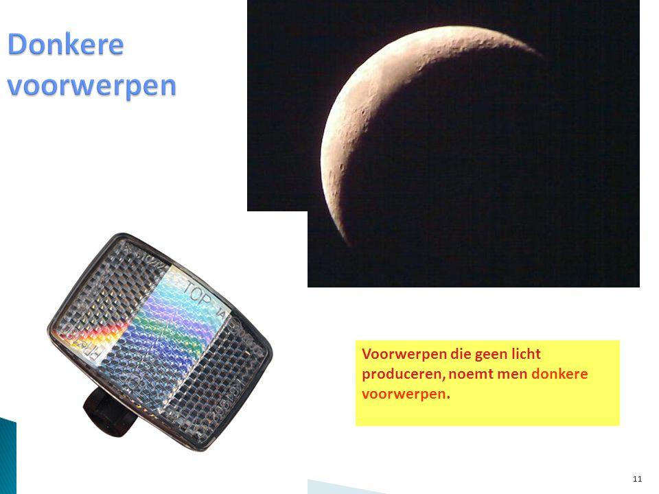 Donkere voorwerpen Voorwerpen die geen licht produceren, noemt men donkere voorwerpen.