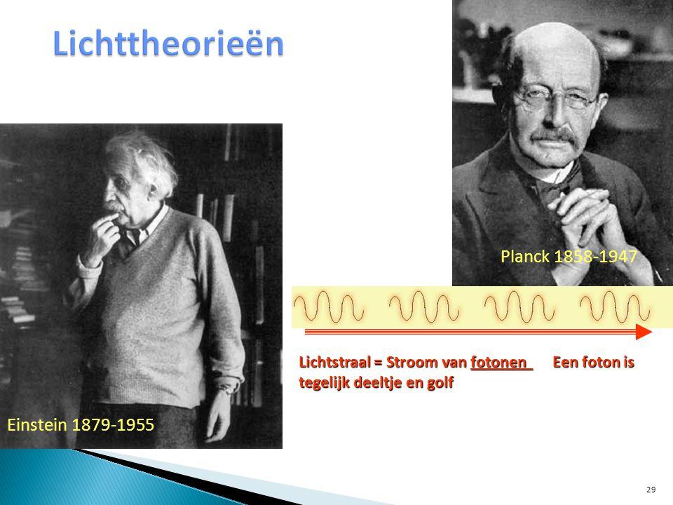 Lichttheorieën Planck 1858-1947 Einstein 1879-1955