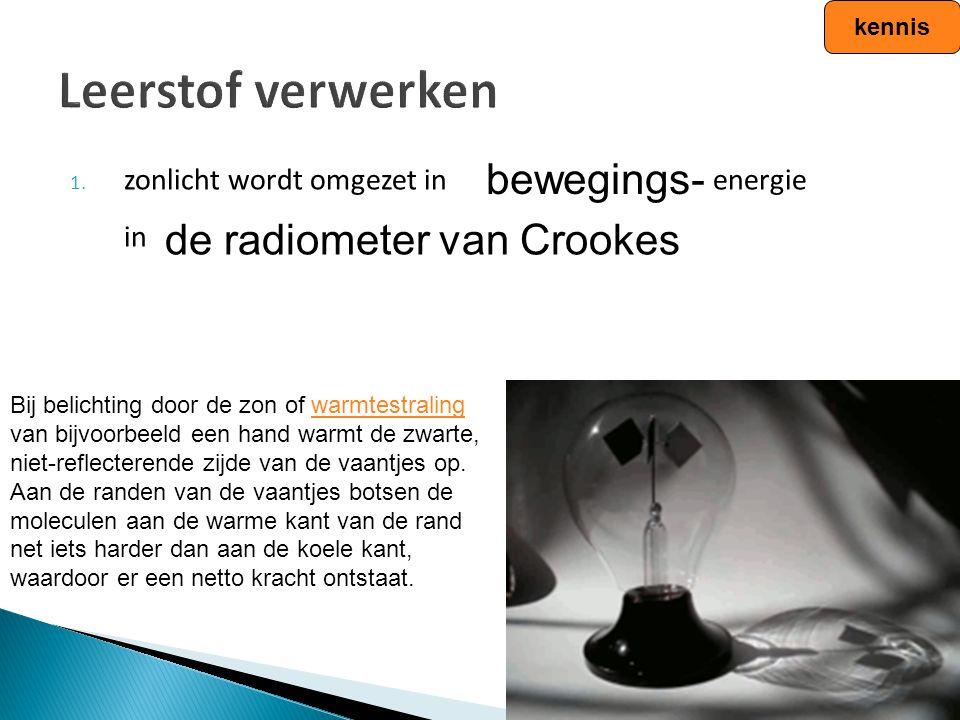 Leerstof verwerken bewegings- de radiometer van Crookes