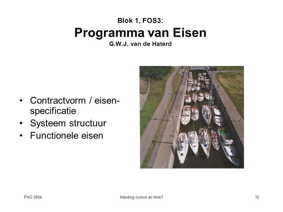 Blok 1, FOS3: Programma van Eisen G.W.J. van de Haterd