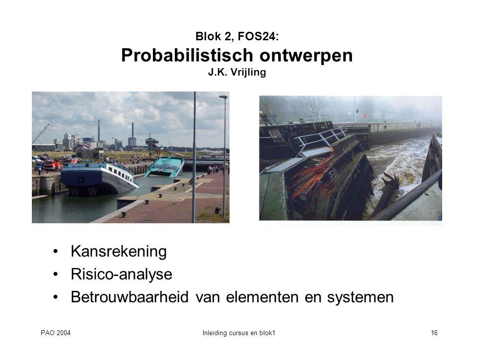 Blok 2, FOS24: Probabilistisch ontwerpen J.K. Vrijling