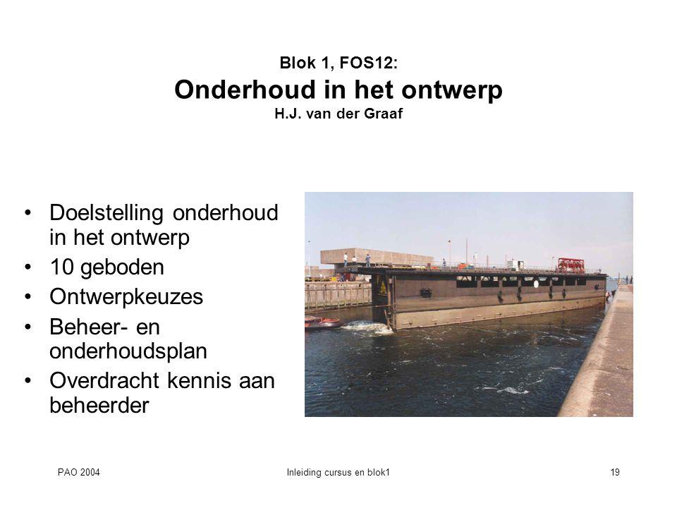 Blok 1, FOS12: Onderhoud in het ontwerp H.J. van der Graaf
