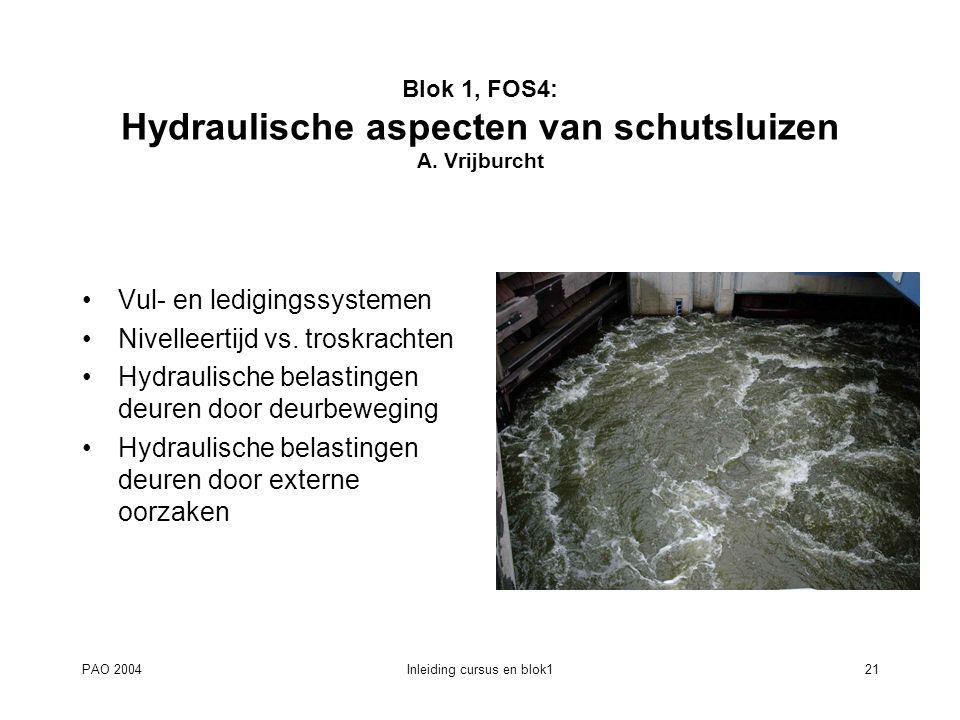 Blok 1, FOS4: Hydraulische aspecten van schutsluizen A. Vrijburcht