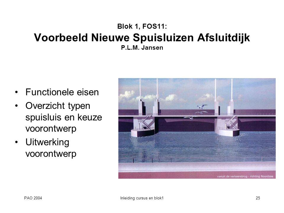 Blok 1, FOS11: Voorbeeld Nieuwe Spuisluizen Afsluitdijk P.L.M. Jansen