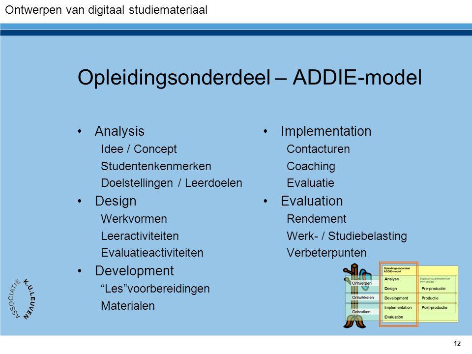 Opleidingsonderdeel – ADDIE-model