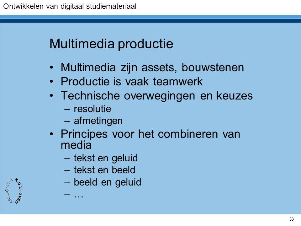 Multimedia productie Multimedia zijn assets, bouwstenen
