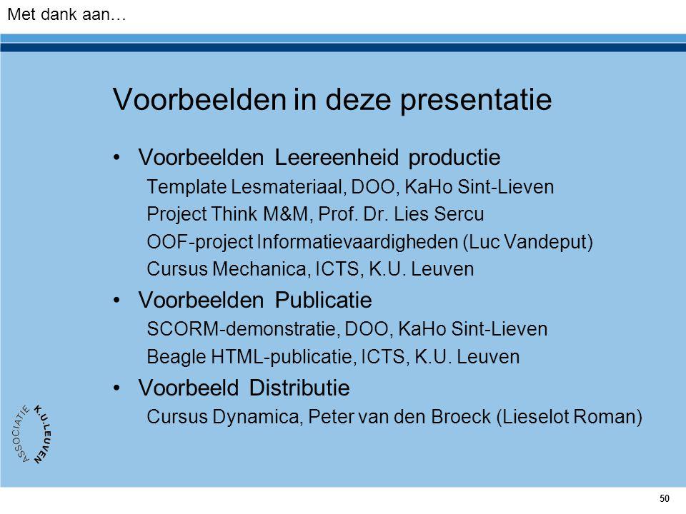 Voorbeelden in deze presentatie