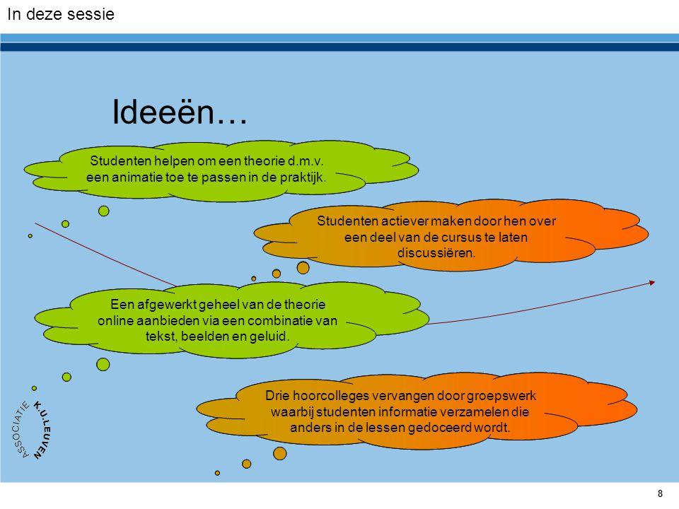 In deze sessie Ideeën… Studenten helpen om een theorie d.m.v. een animatie toe te passen in de praktijk.