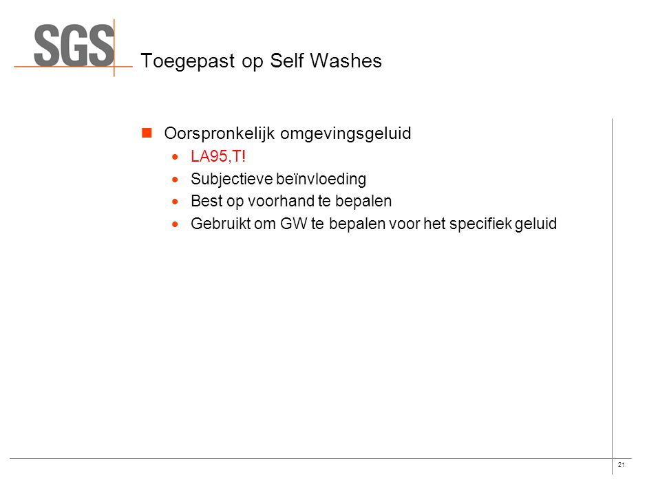 Specifiek geluid van Self Washes