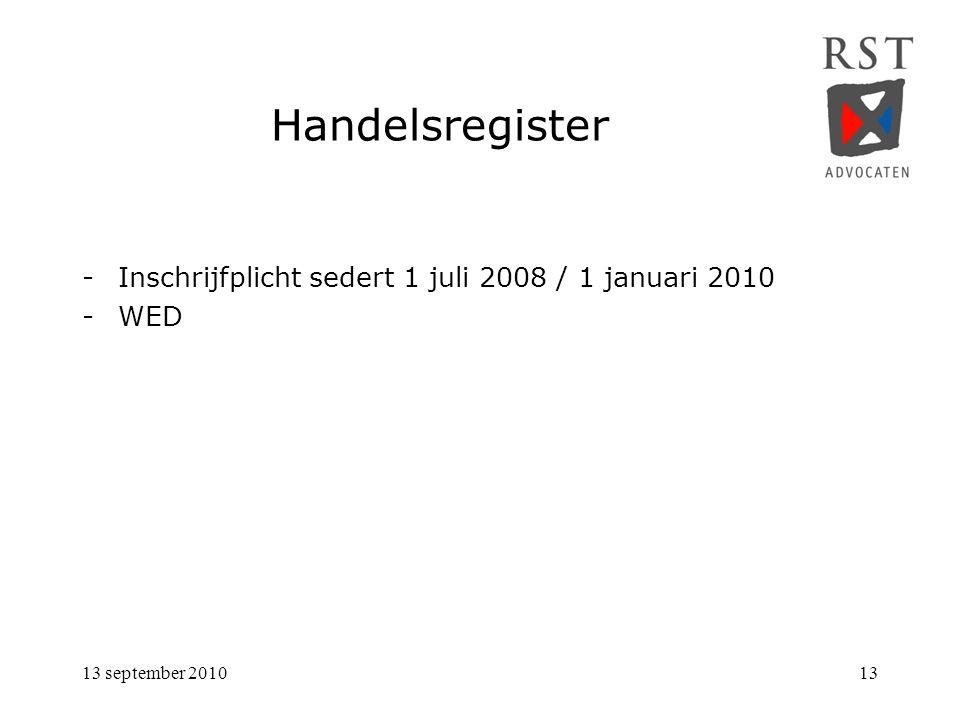 Handelsregister Inschrijfplicht sedert 1 juli 2008 / 1 januari 2010