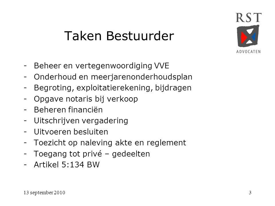 Taken Bestuurder Beheer en vertegenwoordiging VVE