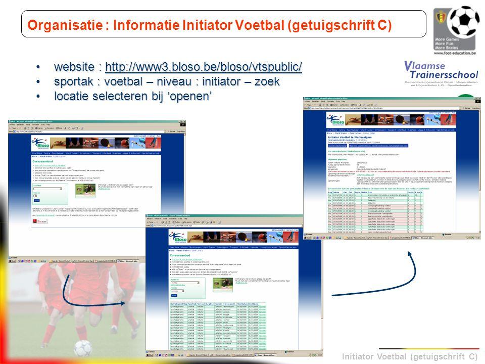 Organisatie : Informatie Initiator Voetbal (getuigschrift C)