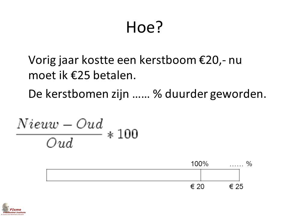 Hoe Vorig jaar kostte een kerstboom €20,- nu moet ik €25 betalen. De kerstbomen zijn …… % duurder geworden.