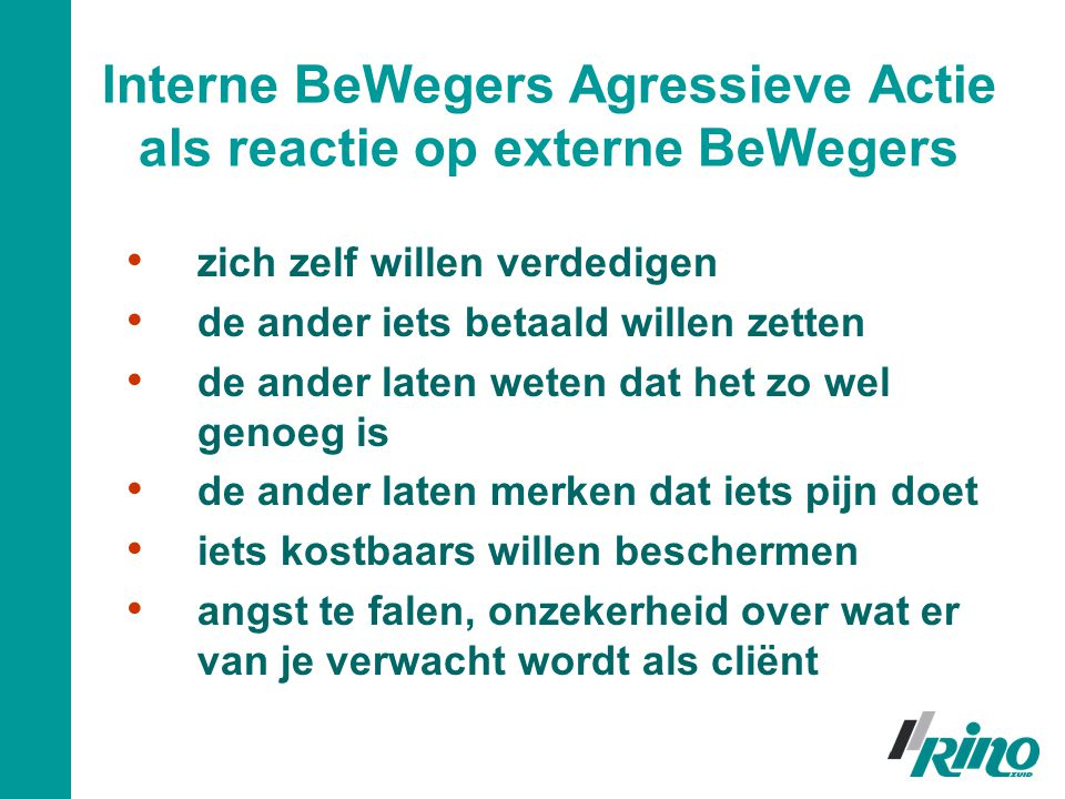 Interne BeWegers Agressieve Actie als reactie op externe BeWegers