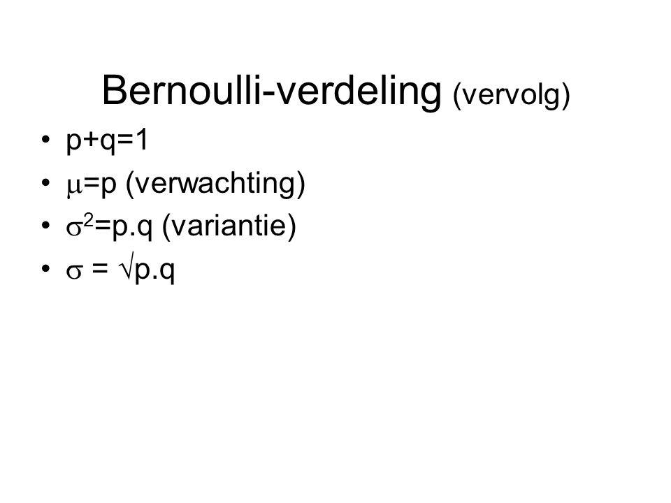 Bernoulli-verdeling (vervolg)