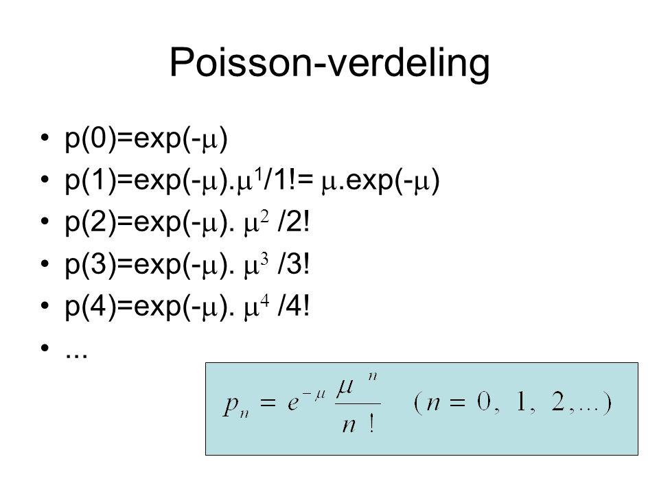 Poisson-verdeling p(0)=exp(-) p(1)=exp(-).1/1!= .exp(-)