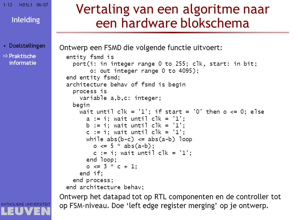 Vertaling van een algoritme naar een hardware blokschema