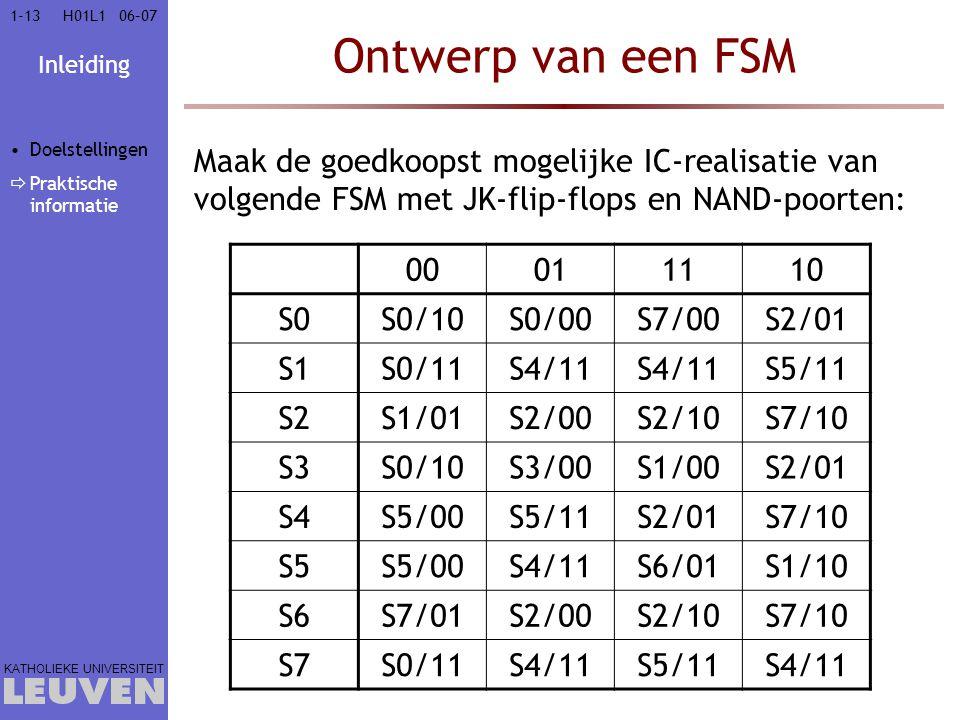 Vak - hoofdstuk Ontwerp van een FSM. Doelstellingen. Praktische informatie.