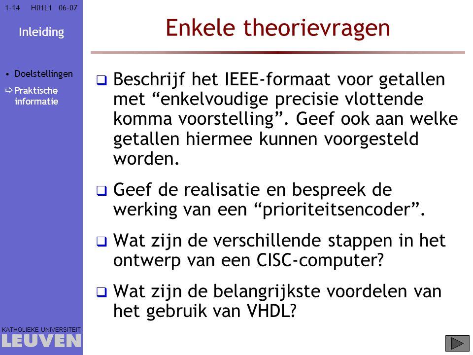 Vak - hoofdstuk Enkele theorievragen. Doelstellingen. Praktische informatie.