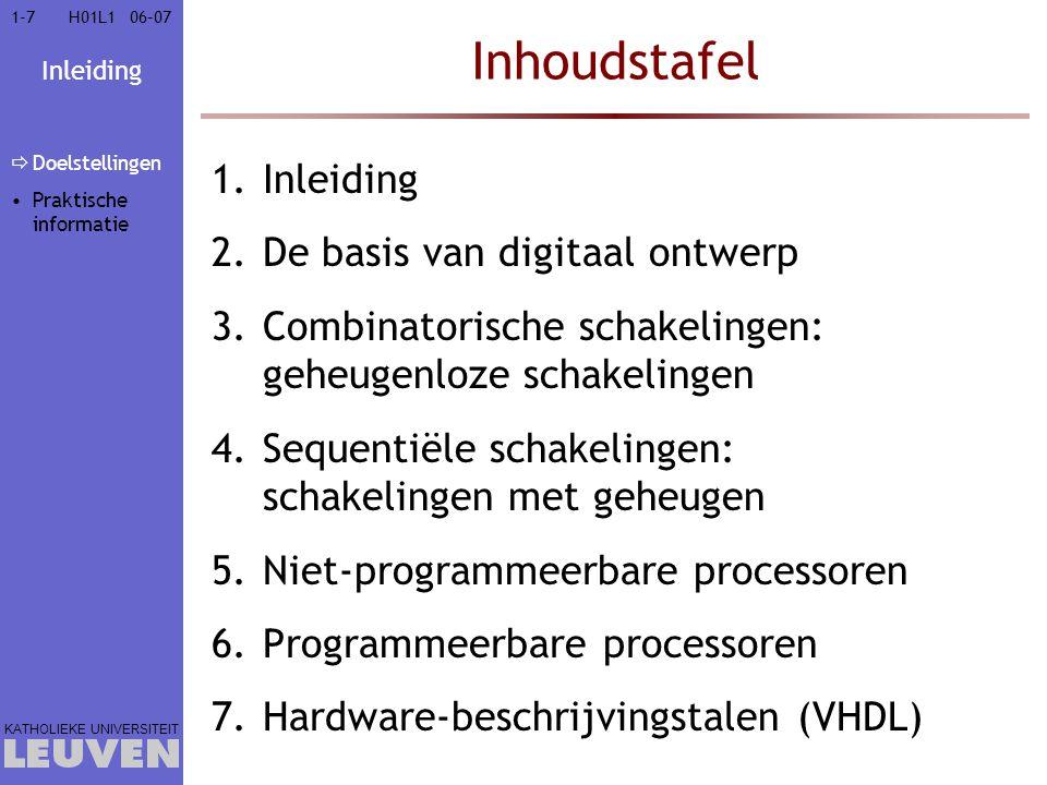 Inhoudstafel Inleiding De basis van digitaal ontwerp
