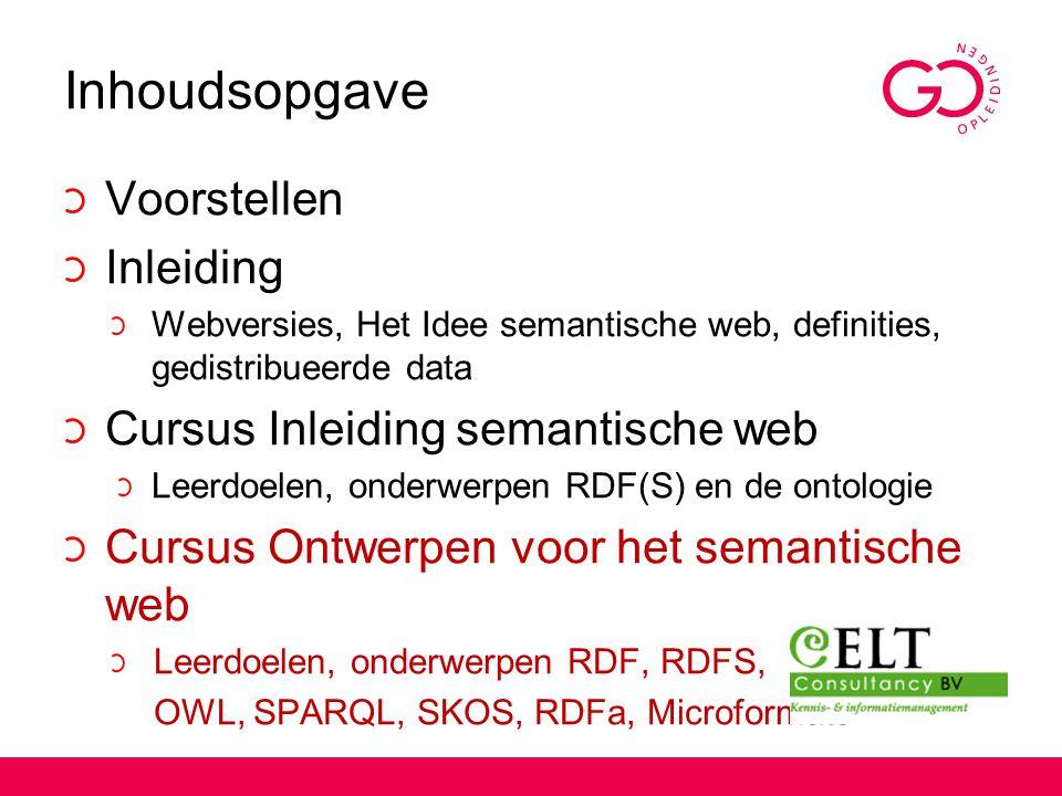 Inhoudsopgave Voorstellen Inleiding Cursus Inleiding semantische web