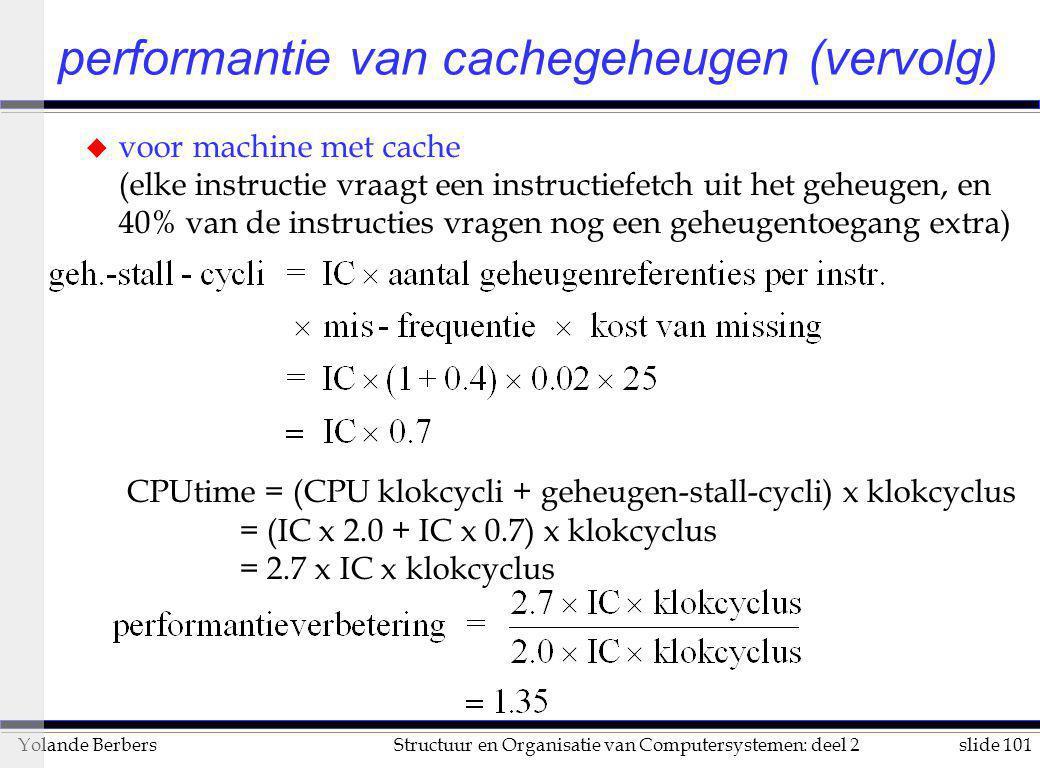 performantie van cachegeheugen (vervolg)