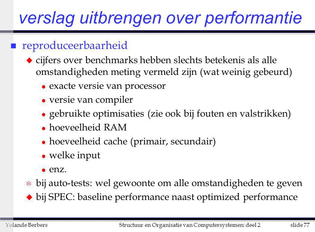 verslag uitbrengen over performantie