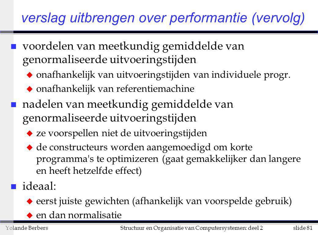 verslag uitbrengen over performantie (vervolg)