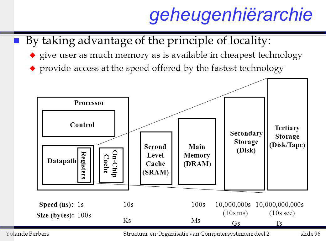 geheugenhiërarchie By taking advantage of the principle of locality: