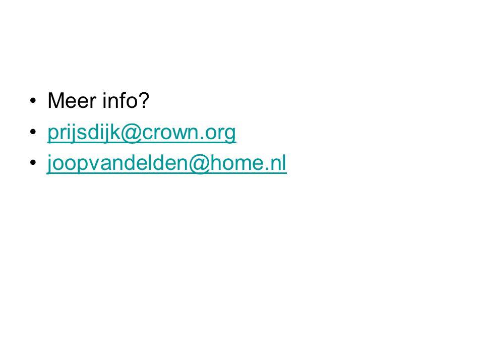 Meer info prijsdijk@crown.org joopvandelden@home.nl