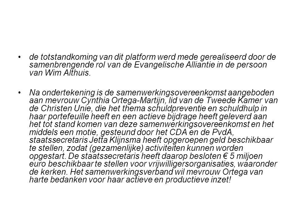 de totstandkoming van dit platform werd mede gerealiseerd door de samenbrengende rol van de Evangelische Alliantie in de persoon van Wim Althuis.