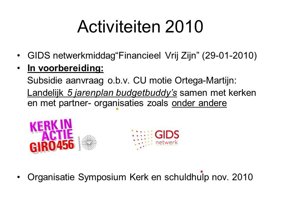 Activiteiten 2010 GIDS netwerkmiddag Financieel Vrij Zijn (29-01-2010) In voorbereiding: Subsidie aanvraag o.b.v. CU motie Ortega-Martijn: