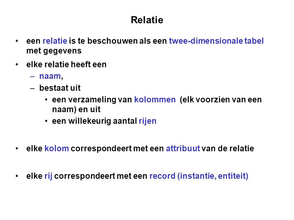 Relatie een relatie is te beschouwen als een twee-dimensionale tabel met gegevens. elke relatie heeft een.
