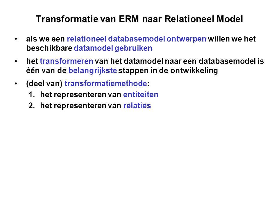 Transformatie van ERM naar Relationeel Model